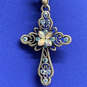 Lia Sophia Blue Crystal Cross Necklace Pend./Chain